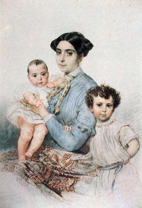 Портрет Терезы- Микеле Титтони с сыновьями. 1850-1852. Карл Павлович Брюллов