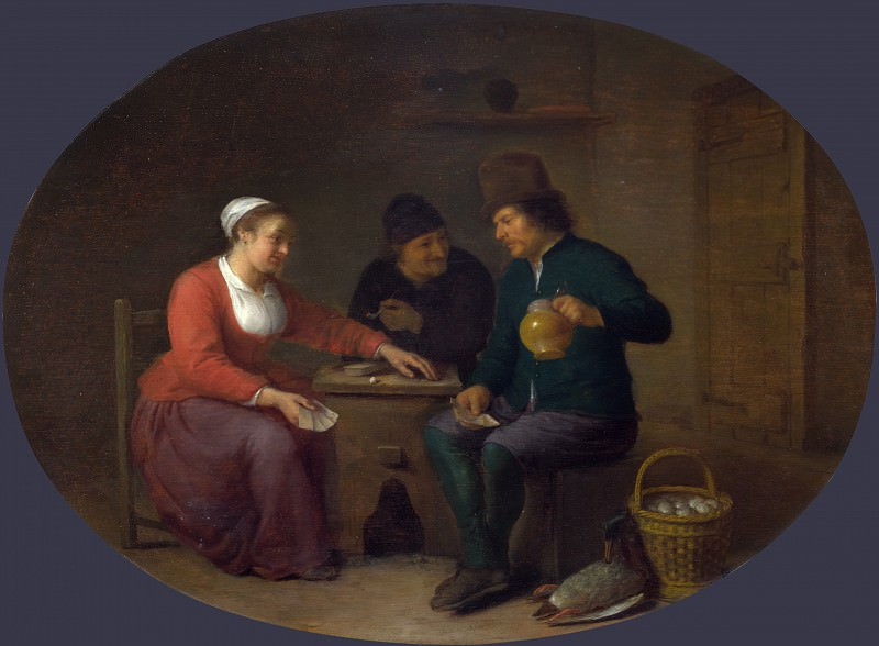 Hendrick Sorgh - A Woman playing Cards with Two Peasants. Part 3 National Gallery UK