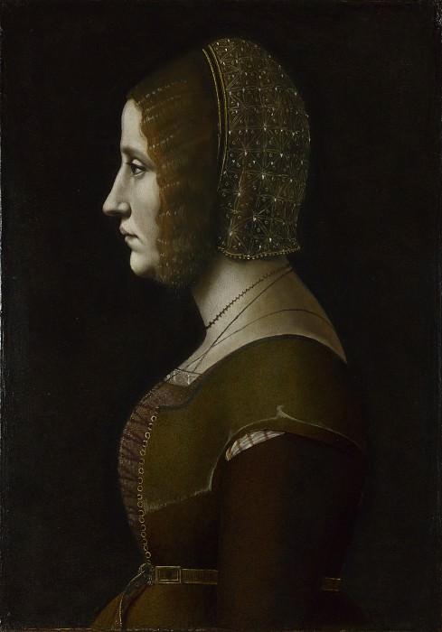 Giovanni Ambrogio de Predis - Profile Portrait of a Lady. Part 3 National Gallery UK