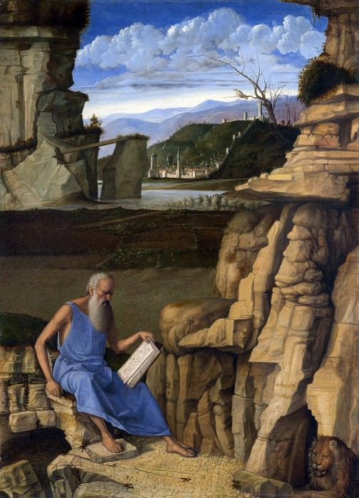 Giovanni Bellini - Saint Jerome reading in a Landscape. Part 3 National Gallery UK