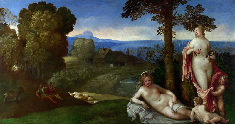 Джорджоне (имитатор) - Нимфы и дети в пейзаже с пастухами. Часть 3 Национальная галерея