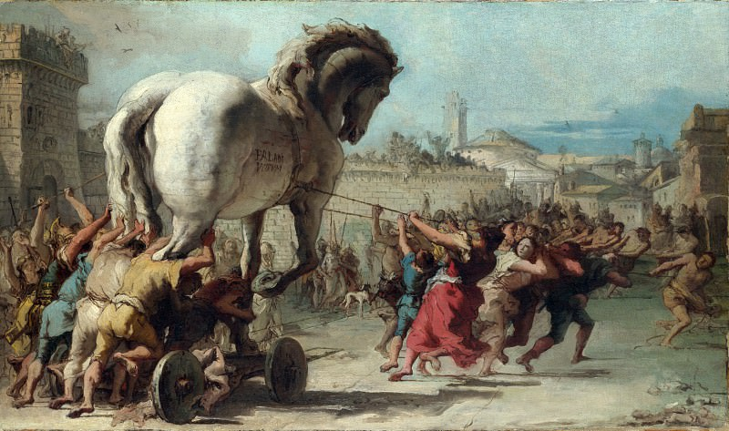 Giovanni Domenico Tiepolo - The Procession of the Trojan Horse into Troy. Part 3 National Gallery UK