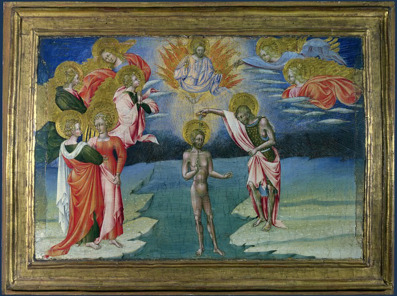 Giovanni di Paolo - The Baptism of Christ - Predella Panel. Part 3 National Gallery UK