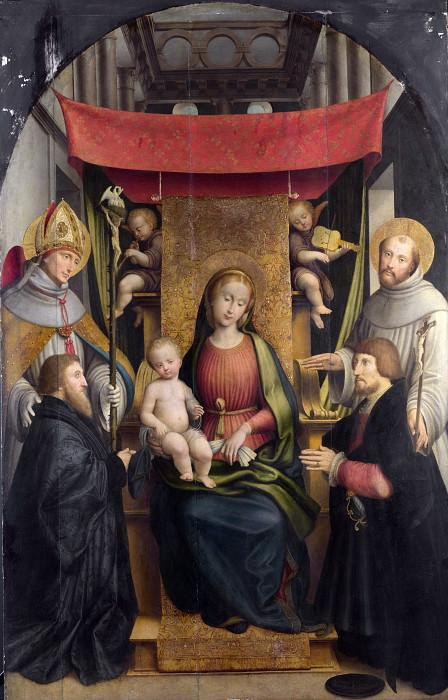 Gerolamo Giovenone - The Virgin and Child with Saints and Donors. Part 3 National Gallery UK