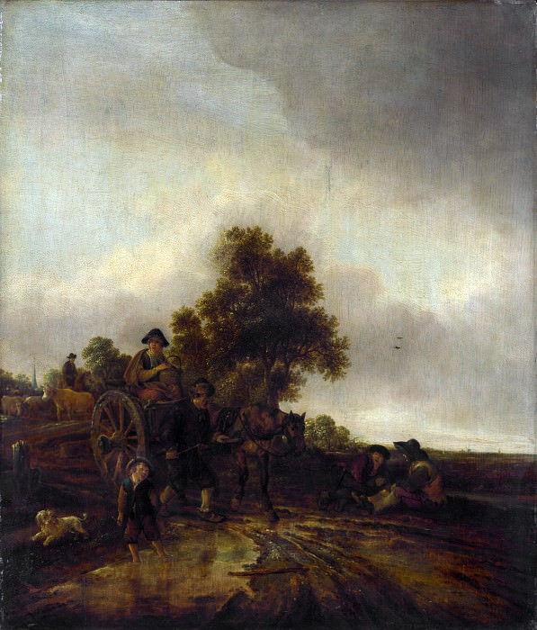 Isack van Ostade - A Landscape with Peasants and a Cart. Part 3 National Gallery UK