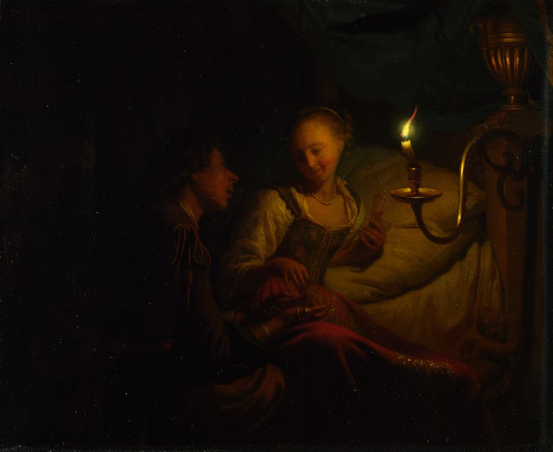 Godfried Schalcken - A Man Offering Gold and Coins to a Girl. Part 3 National Gallery UK
