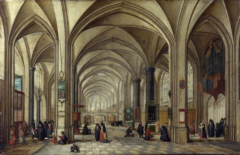 Hendrick van Steenwyck the Younger and Jan Brueghel the Elder - The Interior of a Gothic Church looking East. Part 3 National Gallery UK