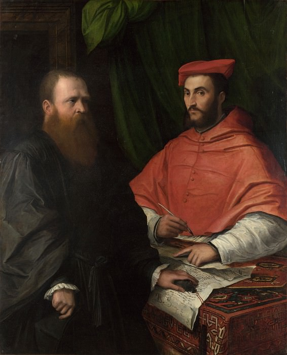 Girolamo da Carpi - Cardinal Ippolito de Medici and Monsignor Mario Bracci. Part 3 National Gallery UK