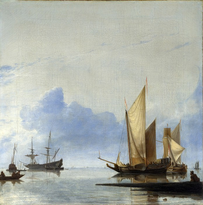 Hendrick Dubbels - A Dutch Yacht and Other Vessels Becalmed near the Shore. Part 3 National Gallery UK
