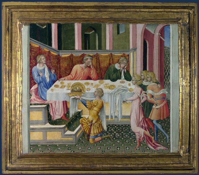Giovanni di Paolo - The Head of John the Baptist brought to Herod. Part 3 National Gallery UK
