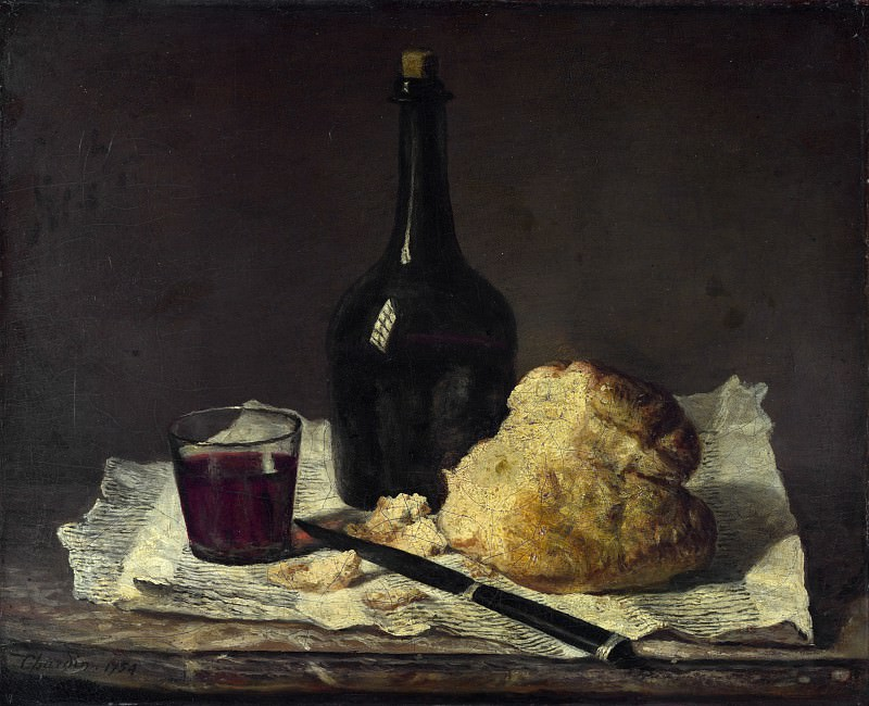 Imitator of Jean-Simeon Chardin - Still Life with Bottle, Glass and Loaf. Part 3 National Gallery UK