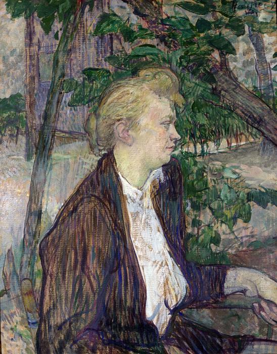 Henri de Toulouse-Lautrec - Woman seated in a Garden. Part 3 National Gallery UK