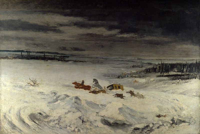 Gustave Courbet - The Diligence in the Snow. Part 3 National Gallery UK