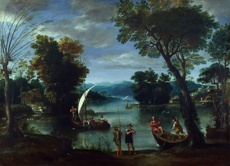 Giovanni Battista Viola - Landscape with a River and Boats. Part 3 National Gallery UK