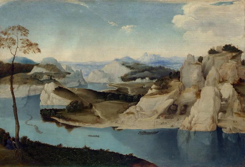 Imitator of Pieter Bruegel the Elder - Landscape - A River among Mountains. Part 3 National Gallery UK