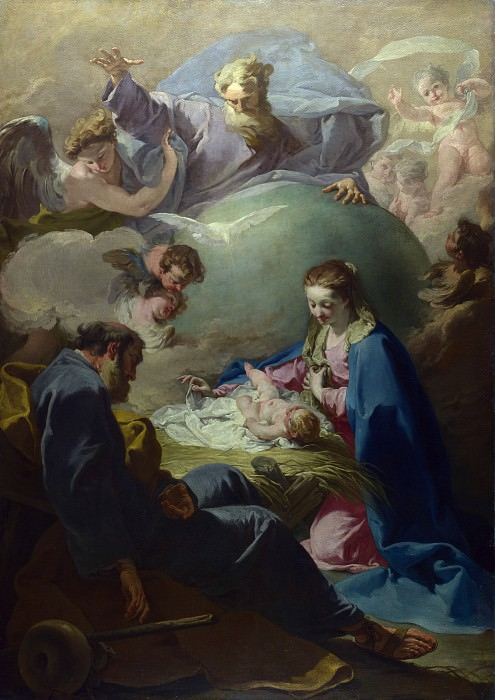 Giovanni Battista Pittoni - The Nativity with God the Father and the Holy Ghost. Part 3 National Gallery UK