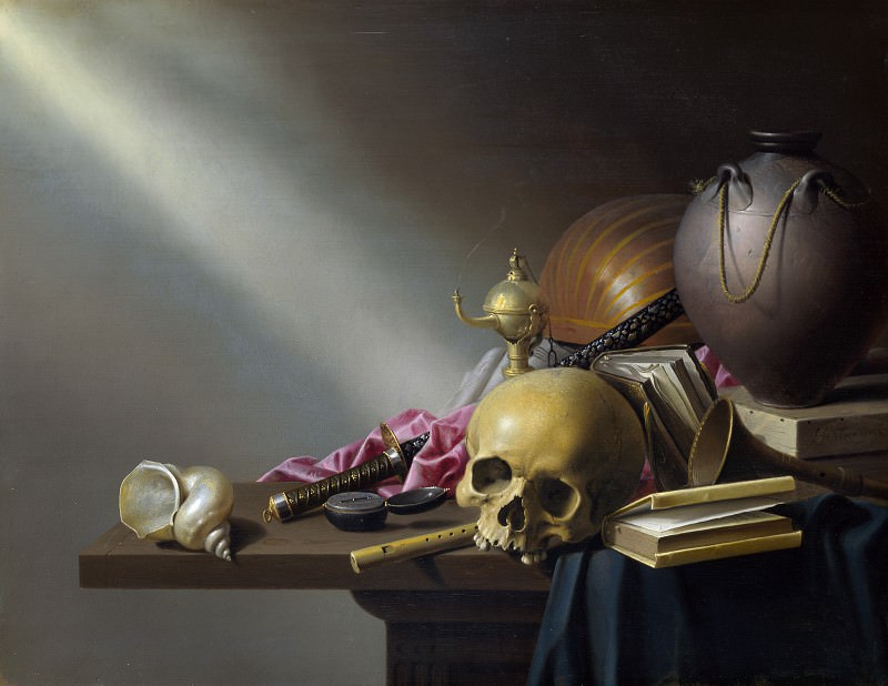 Harmen Steenwyck - Still Life - An Allegory of the Vanities of Human Life. Part 3 National Gallery UK