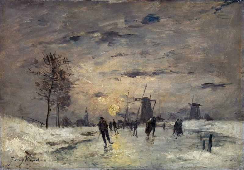 Imitator of Johan Barthold Jongkind - Skating in Holland. Part 3 National Gallery UK