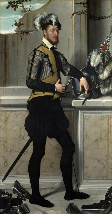 Giovanni Battista Moroni - A Knight with his Jousting Helmet. Part 3 National Gallery UK