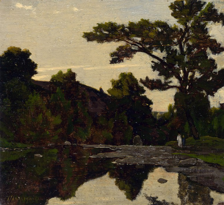Henri-Joseph Harpignies - A River Scene. Part 3 National Gallery UK