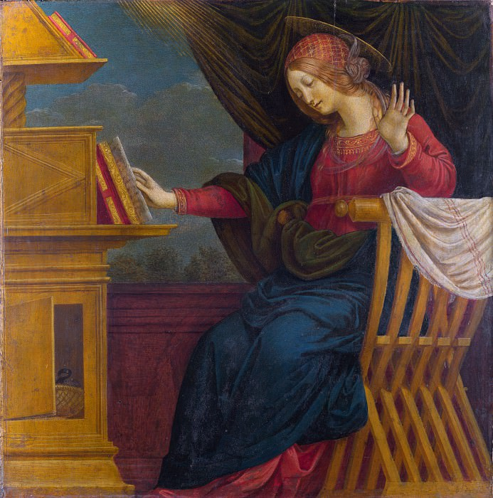 Gaudenzio Ferrari - The Annunciation - The Virgin Mary. Part 3 National Gallery UK