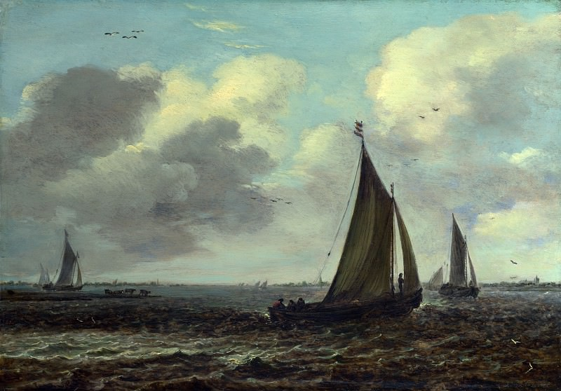 Imitator of Jan van Goyen - Sailing Vessels on a River in a Breeze. Part 3 National Gallery UK