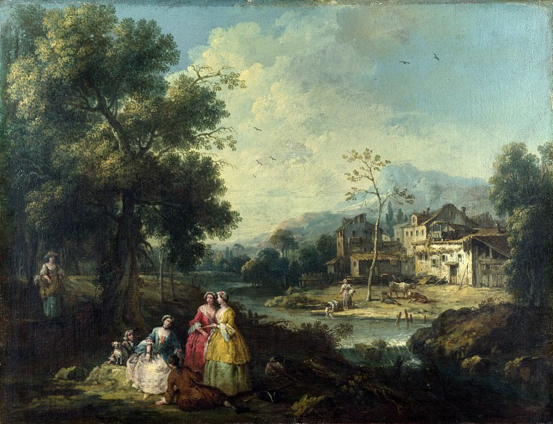 Giuseppe Zais - Landscape with a Group of Figures. Part 3 National Gallery UK