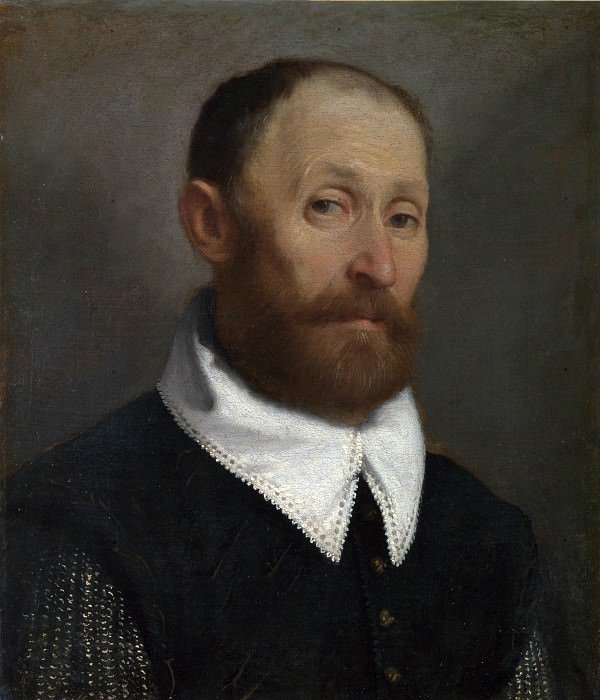 Giovanni Battista Moroni - Portrait of a Man with Raised Eyebrows. Part 3 National Gallery UK