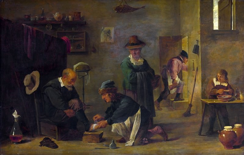 Imitator of David Teniers the Younger - A Doctor tending a Patients Foot in his Surgery. Part 3 National Gallery UK