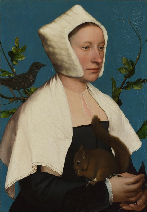 Hans Holbein the Younger - A Lady with a Squirrel and a Starling (Anne Lovell). Part 3 National Gallery UK