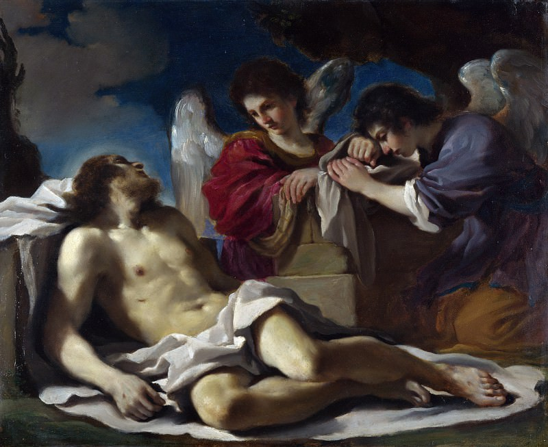 Guercino - The Dead Christ mourned by Two Angels. Part 3 National Gallery UK