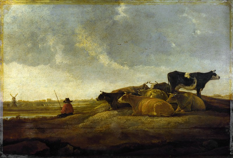 Imitator of Aelbert Cuyp - A Herdsman with Seven Cows by a River. Part 3 National Gallery UK