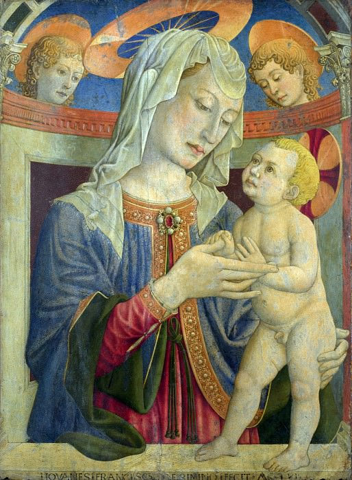 Giovanni Francesco da Rimini - The Virgin and Child with Two Angels. Part 3 National Gallery UK