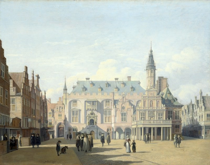 Gerrit Berckheyde - The Market Place and Town Hall, Haarlem. Part 3 National Gallery UK