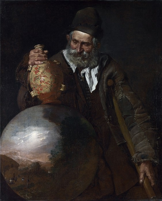Italian - An Old Man holding a Pilgrim-Bottle. Part 3 National Gallery UK