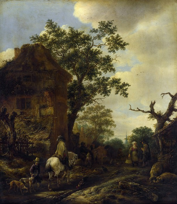 Isack van Ostade - The Outskirts of a Village, with a Horseman. Part 3 National Gallery UK