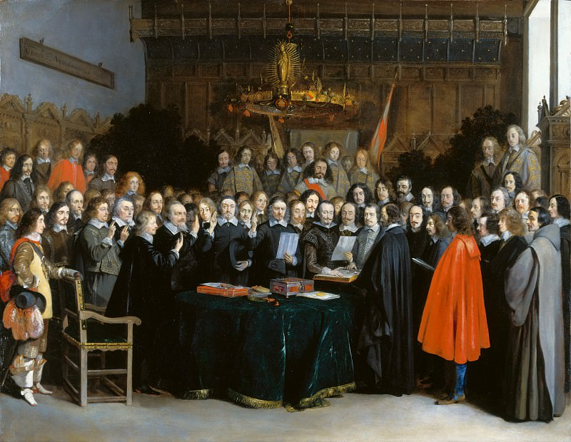 Gerard ter Borch - The Ratification of the Treaty of Munster. Part 3 National Gallery UK