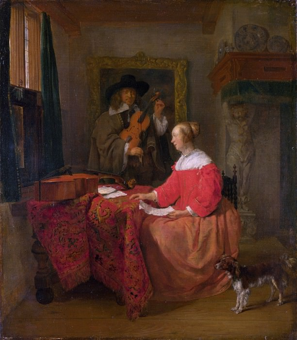 Gabriel Metsu - A Woman seated at a Table and a Man tuning a Violin. Part 3 National Gallery UK