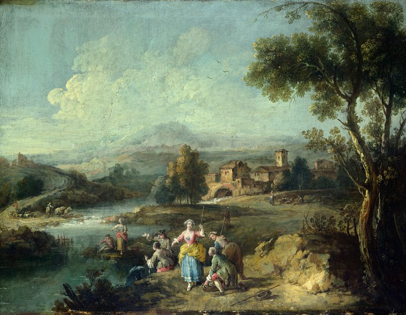 Giuseppe Zais - Landscape with a Group of Figures Fishing. Part 3 National Gallery UK