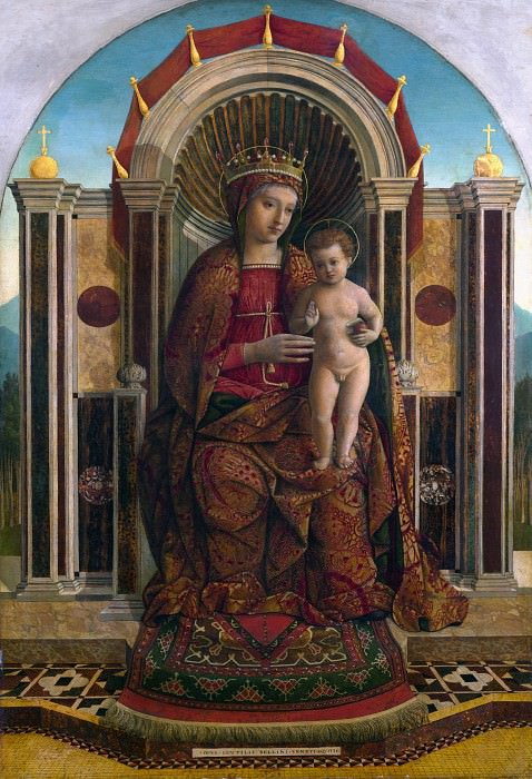 Gentile Bellini - The Virgin and Child Enthroned. Part 3 National Gallery UK