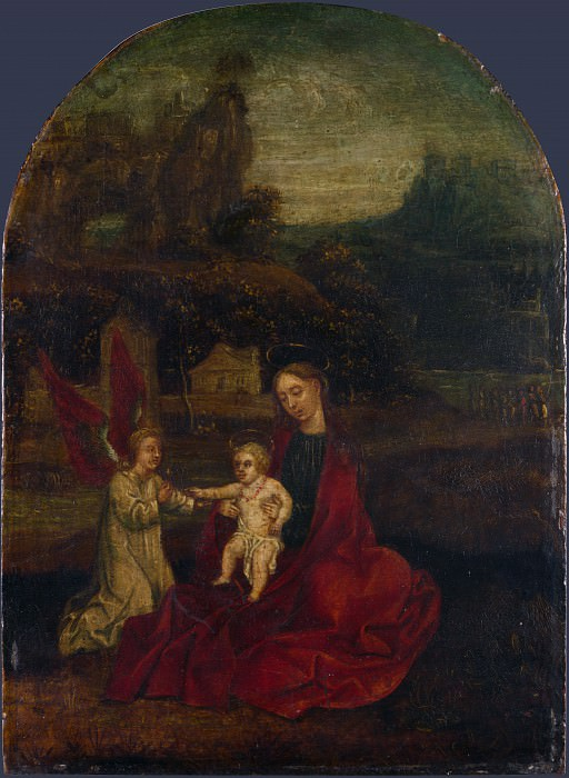 German - The Virgin and Child with an Angel in a Landscape. Part 3 National Gallery UK