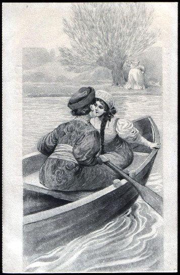 Couple in boat. Sergey Sergeyevich Solomko