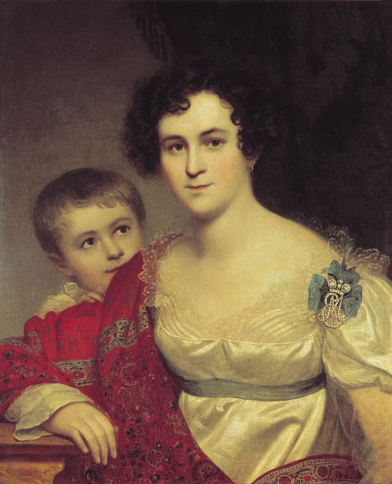 Portrait Avdotya Ivanovna Molchanova with her daughter Elizabeth. H. 1814, m. 70. 6h57 TG. Orest Adamovich Kiprensky