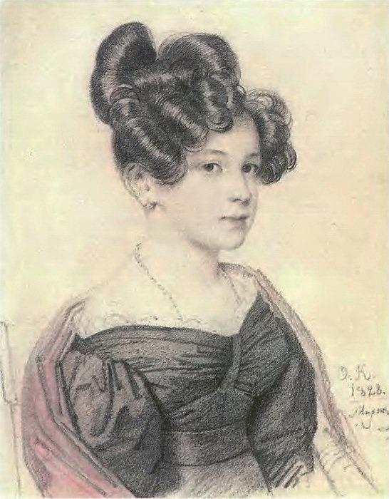 Portrait of Anna Alexeevna venison. 1828. B., um. c., Sang. 22. 5h17. 8. GTG (optional). Orest Adamovich Kiprensky