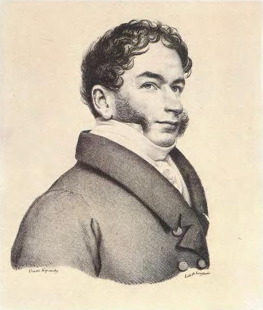 Portrait Cher de Angelis. 1822. Lithograph. GMII. Orest Adamovich Kiprensky
