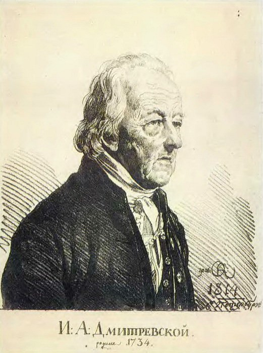 Portrait of actor Ivan Afanasyvitch Dmitrevsky. 1814 own drawings. Etching. GMII. Orest Adamovich Kiprensky