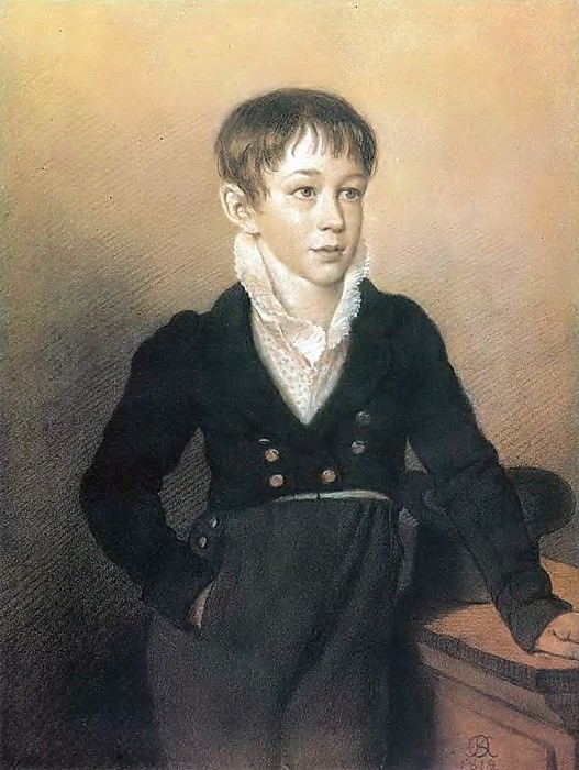 Portrait of an unknown boy. 1812. B., um. K., pastes. 42h31. 5 GTG. Orest Adamovich Kiprensky