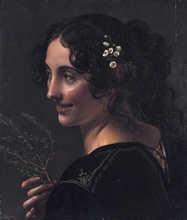 Gypsy woman with a branch of myrtle in her hand. Orest Adamovich Kiprensky
