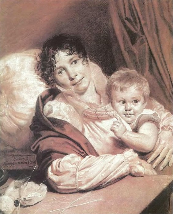 Mother and Child (Portrait of Mrs. Preuss q). 1809. B. cinnamon. , Um. K., chalk. 57, 5h49. GTG. Orest Adamovich Kiprensky