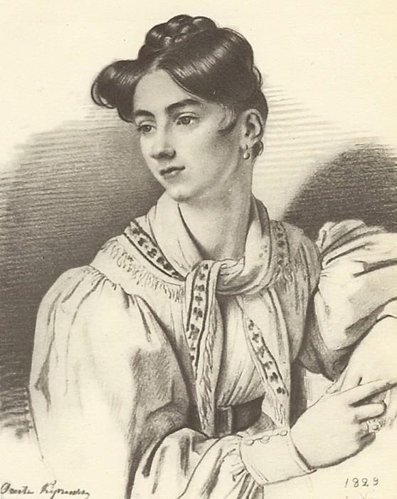 Portrait of an unknown with a kerchief on her neck. 1829. B., um. c. 30. 3h22. 5. GRM. Orest Adamovich Kiprensky